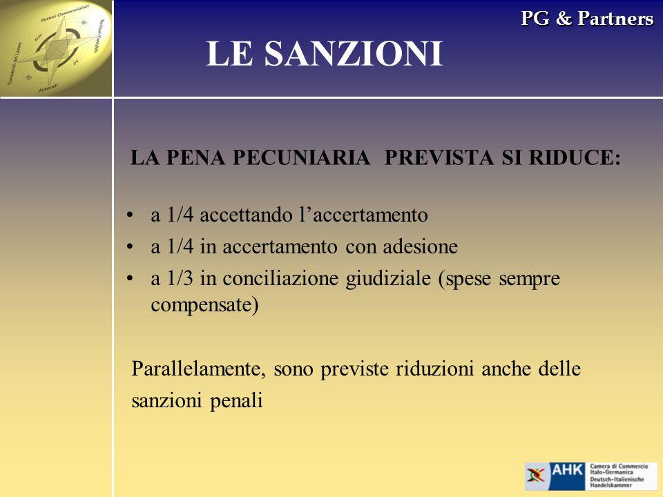 PG & Partners LA PENA PECUNIARIA PREVISTA SI RIDUCE: LE SANZIONI a 1/4 accettando laccertamento a 1/4 in accertamento con adesione a 1/3 in conciliazi
