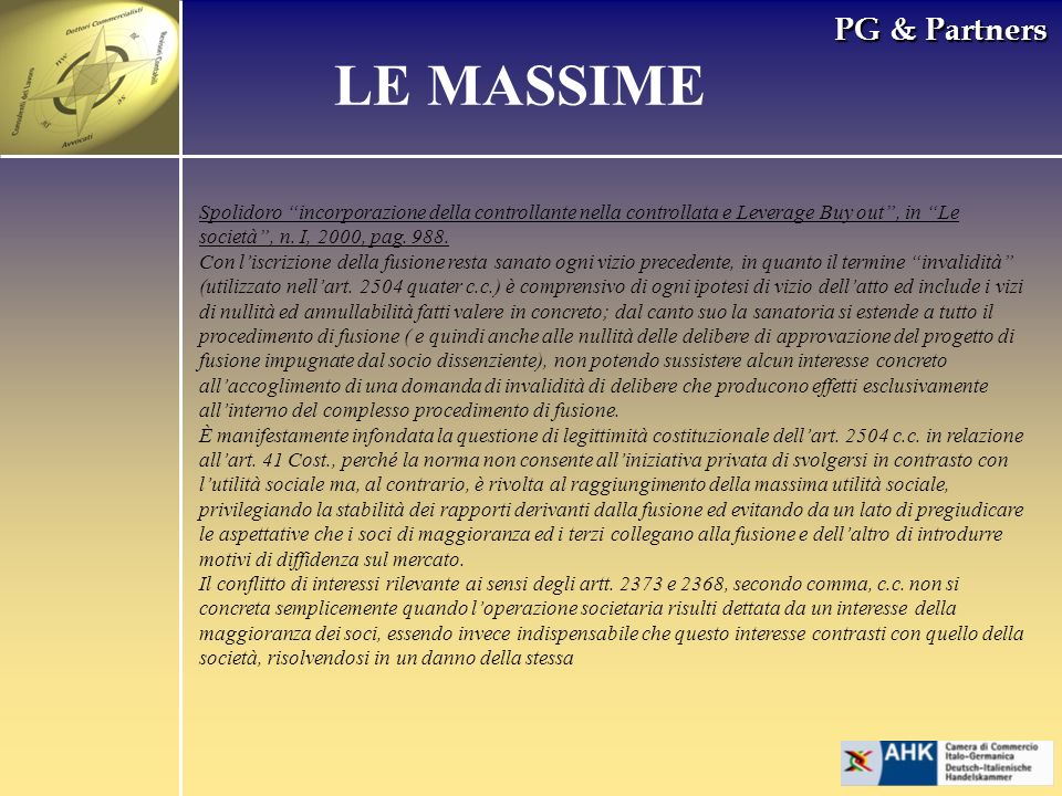 PG & Partners LE MASSIME Spolidoro incorporazione della controllante nella controllata e Leverage Buy out, in Le società, n.