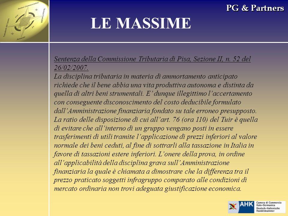 PG & Partners LE MASSIME Sentenza della Commissione Tributaria di Pisa, Sezione II, n.