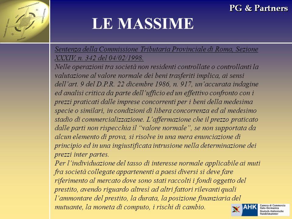 PG & Partners LE MASSIME Sentenza della Commissione Tributaria Provinciale di Roma, Sezione XXXIV, n.