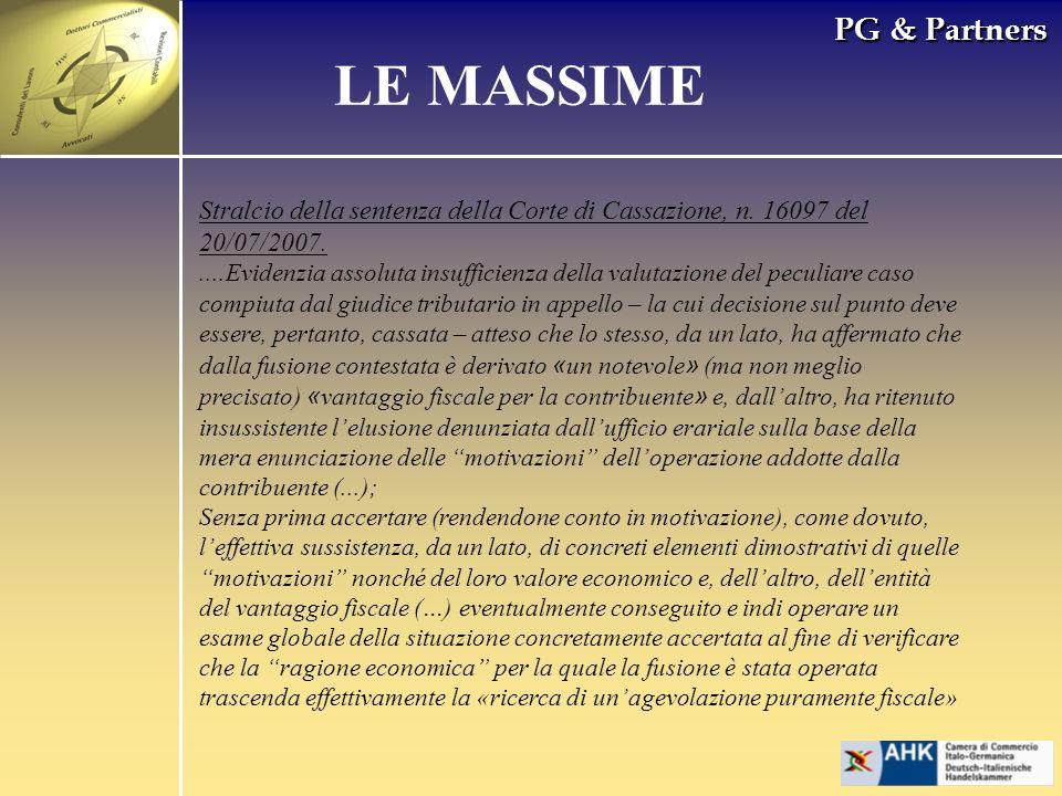 PG & Partners LE MASSIME Stralcio della sentenza della Corte di Cassazione, n. 16097 del 20/07/2007.....Evidenzia assoluta insufficienza della valutaz