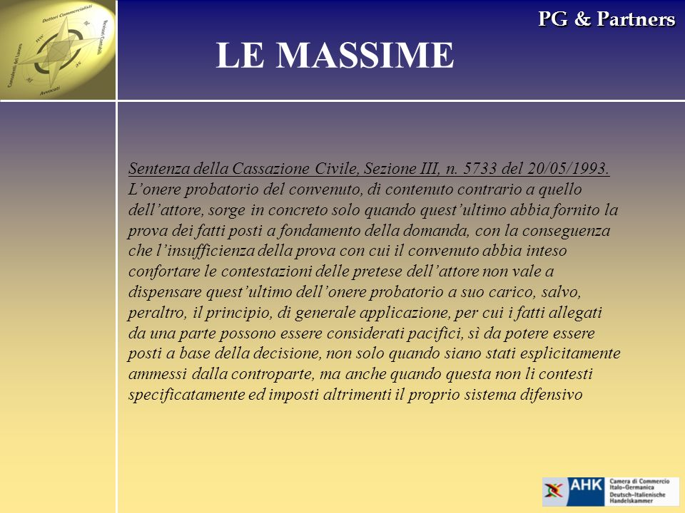 PG & Partners LE MASSIME Sentenza della Cassazione Civile, Sezione III, n. 5733 del 20/05/1993. Lonere probatorio del convenuto, di contenuto contrari