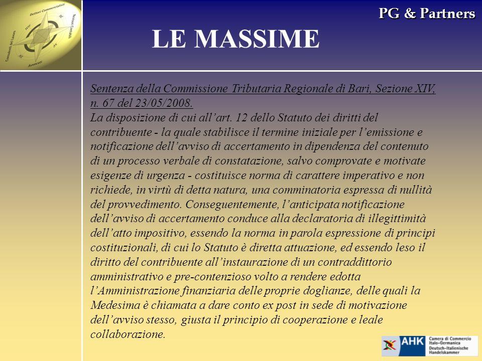 PG & Partners LE MASSIME Sentenza della Commissione Tributaria Regionale di Bari, Sezione XIV, n.