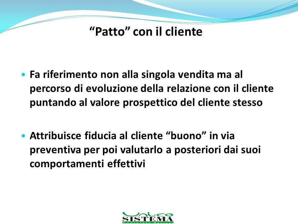 Patto con il cliente Fa riferimento non alla singola vendita ma al percorso di evoluzione della relazione con il cliente puntando al valore prospettic