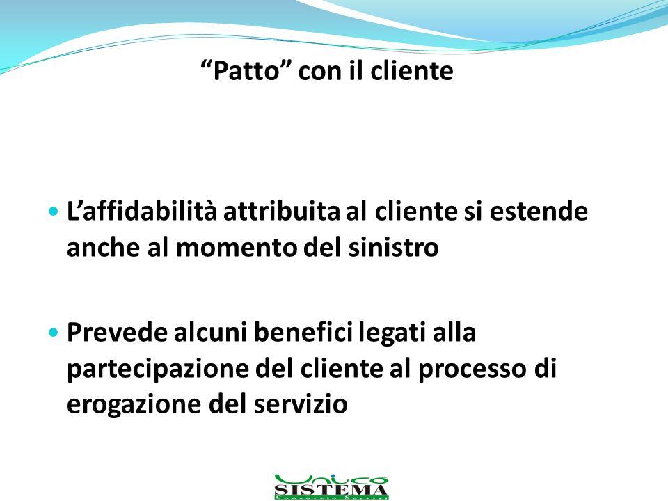 Patto con il cliente Laffidabilità attribuita al cliente si estende anche al momento del sinistro Prevede alcuni benefici legati alla partecipazione d
