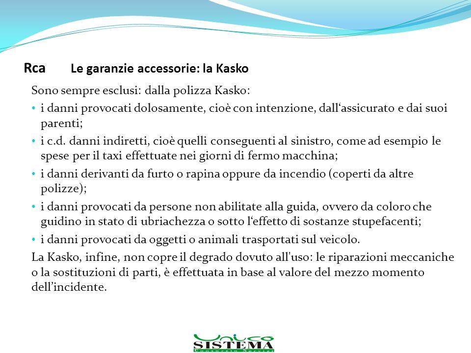 Sono sempre esclusi: dalla polizza Kasko: i danni provocati dolosamente, cioè con intenzione, dallassicurato e dai suoi parenti; i c.d. danni indirett