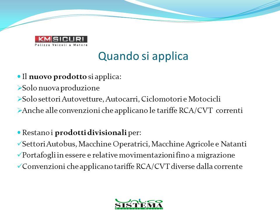 Quando si applica Il nuovo prodotto si applica: Solo nuova produzione Solo settori Autovetture, Autocarri, Ciclomotori e Motocicli Anche alle convenzi