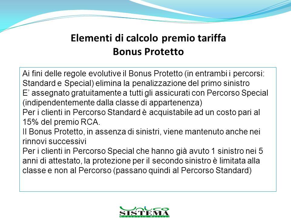 Elementi di calcolo premio tariffa Bonus Protetto Ai fini delle regole evolutive il Bonus Protetto (in entrambi i percorsi: Standard e Special) elimin