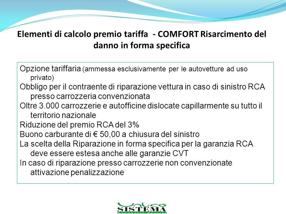 Elementi di calcolo premio tariffa - COMFORT Risarcimento del danno in forma specifica Opzione tariffaria (ammessa esclusivamente per le autovetture a