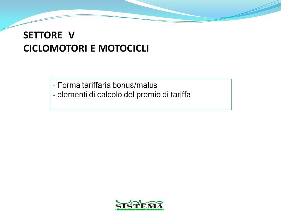 SETTORE V CICLOMOTORI E MOTOCICLI - Forma tariffaria bonus/malus - elementi di calcolo del premio di tariffa