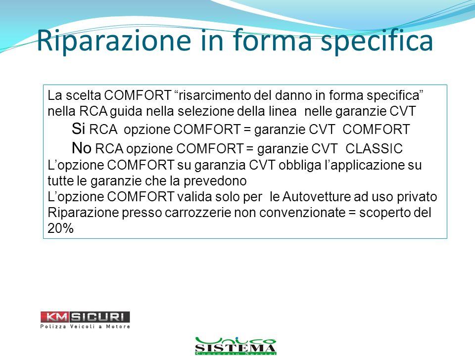 Riparazione in forma specifica La scelta COMFORT risarcimento del danno in forma specifica nella RCA guida nella selezione della linea nelle garanzie