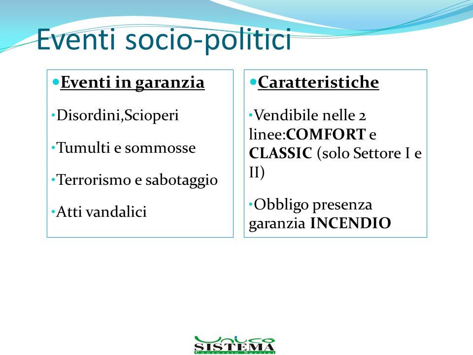 Eventi socio-politici Eventi in garanzia Disordini,Scioperi Tumulti e sommosse Terrorismo e sabotaggio Atti vandalici Caratteristiche Vendibile nelle