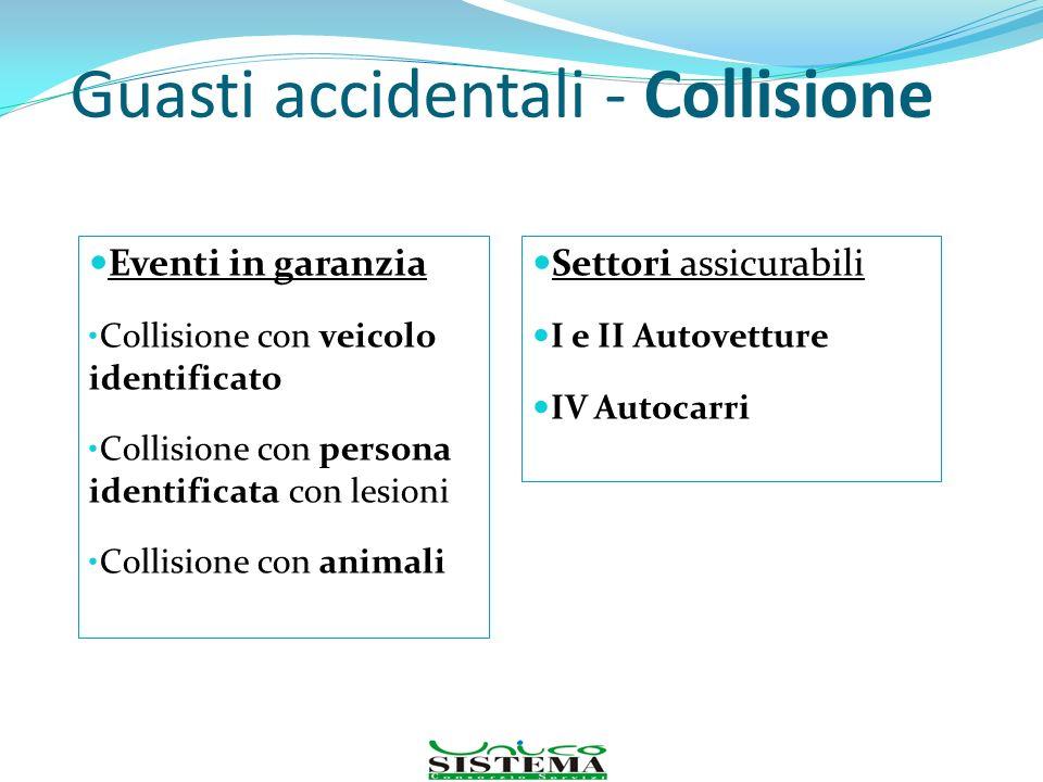 Guasti accidentali - Collisione Eventi in garanzia Collisione con veicolo identificato Collisione con persona identificata con lesioni Collisione con