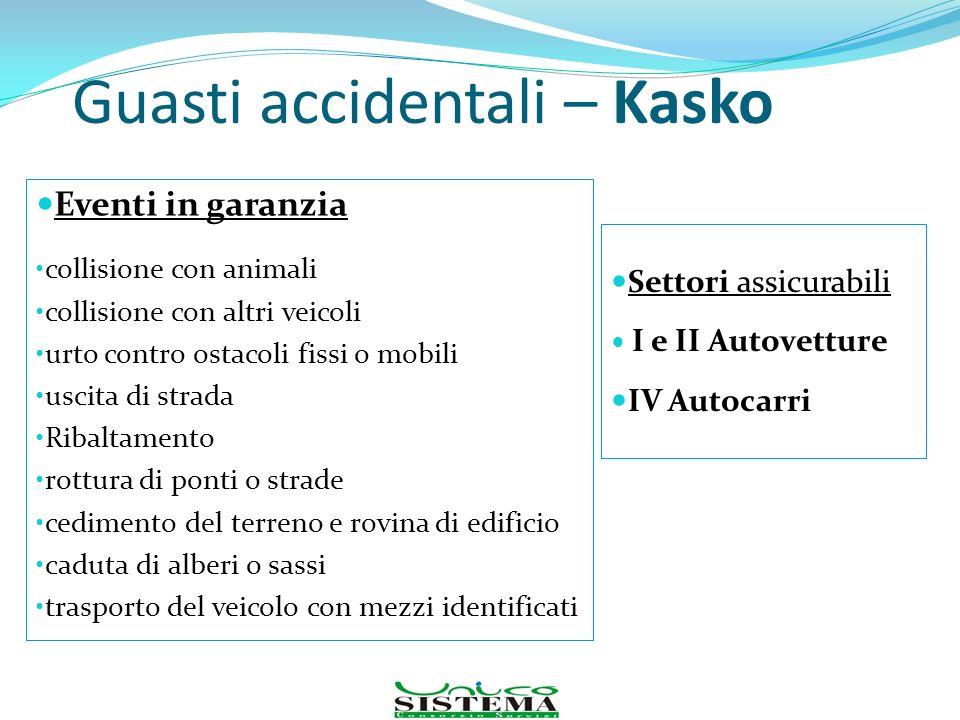 Guasti accidentali – Kasko Eventi in garanzia collisione con animali collisione con altri veicoli urto contro ostacoli fissi o mobili uscita di strada