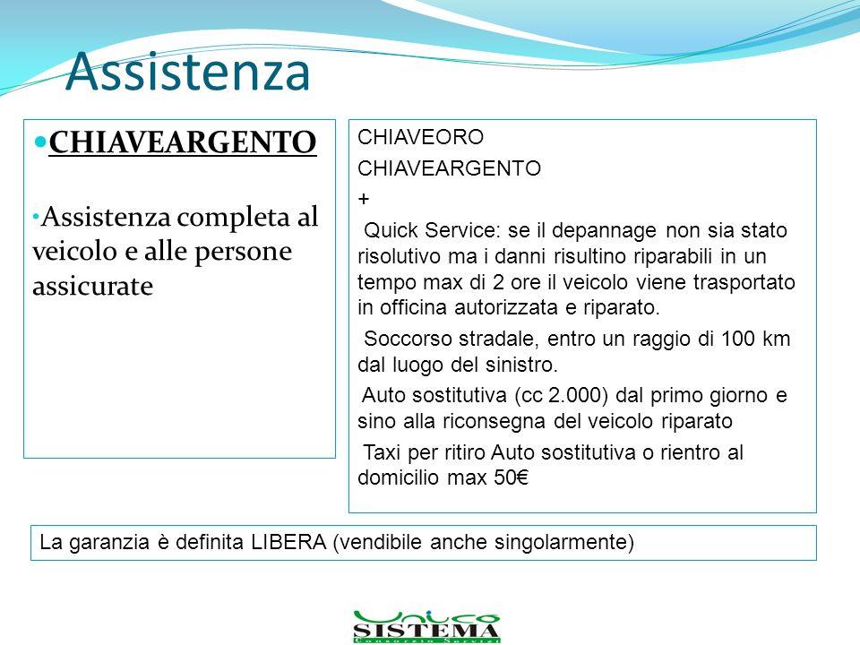 Assistenza CHIAVEARGENTO Assistenza completa al veicolo e alle persone assicurate CHIAVEORO CHIAVEARGENTO + Quick Service: se il depannage non sia sta