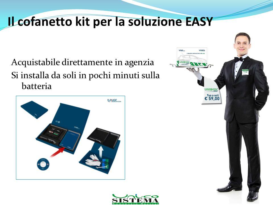 Acquistabile direttamente in agenzia Si installa da soli in pochi minuti sulla batteria 99 Il cofanetto kit per la soluzione EASY