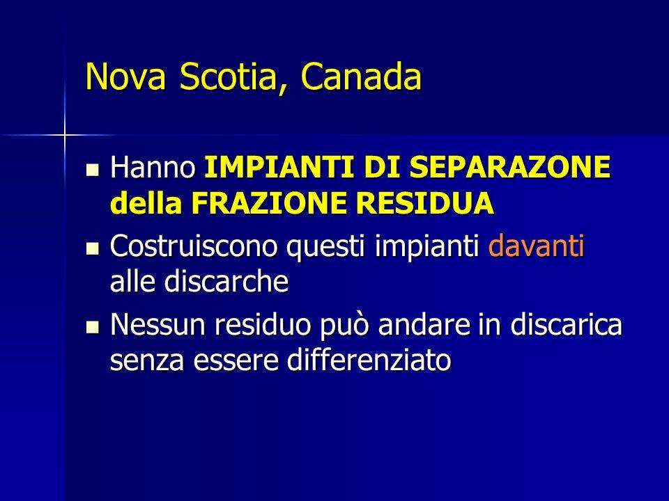 Nova Scotia, Canada Hanno IMPIANTI DI SEPARAZONE della FRAZIONE RESIDUA Hanno IMPIANTI DI SEPARAZONE della FRAZIONE RESIDUA Costruiscono questi impian