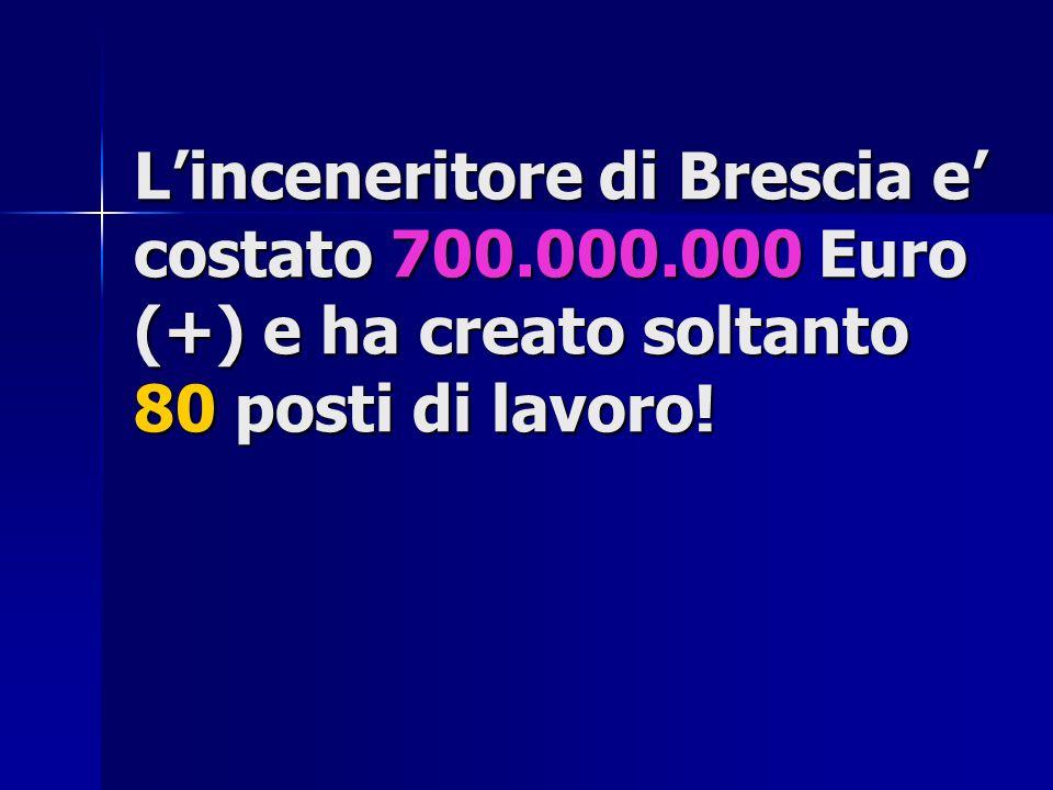 Linceneritore di Brescia e costato 700.000.000 Euro (+) e ha creato soltanto 80 posti di lavoro!