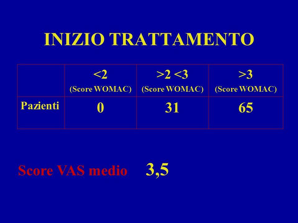 INIZIO TRATTAMENTO <2 (Score WOMAC) >2 <3 (Score WOMAC) >3 (Score WOMAC) Pazienti 03165 Score VAS medio 3,5