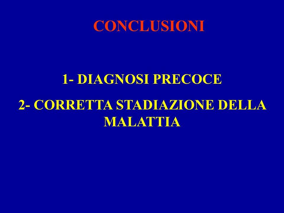 CONCLUSIONI 1- DIAGNOSI PRECOCE 2- CORRETTA STADIAZIONE DELLA MALATTIA