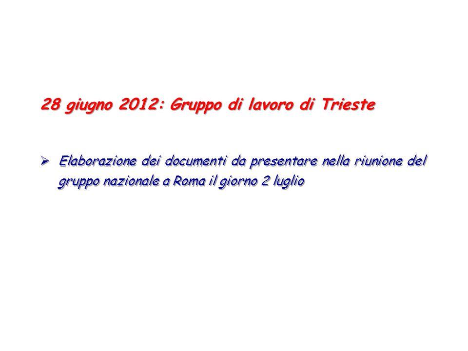 28 giugno 2012: Gruppo di lavoro di Trieste Elaborazione dei documenti da presentare nella riunione del gruppo nazionale a Roma il giorno 2 luglio Ela