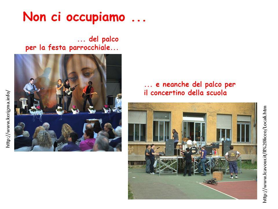 ... del palco per la festa parrocchiale... http://www.kerigma.info/ Non ci occupiamo...... e neanche del palco per il concertino della scuola http://w