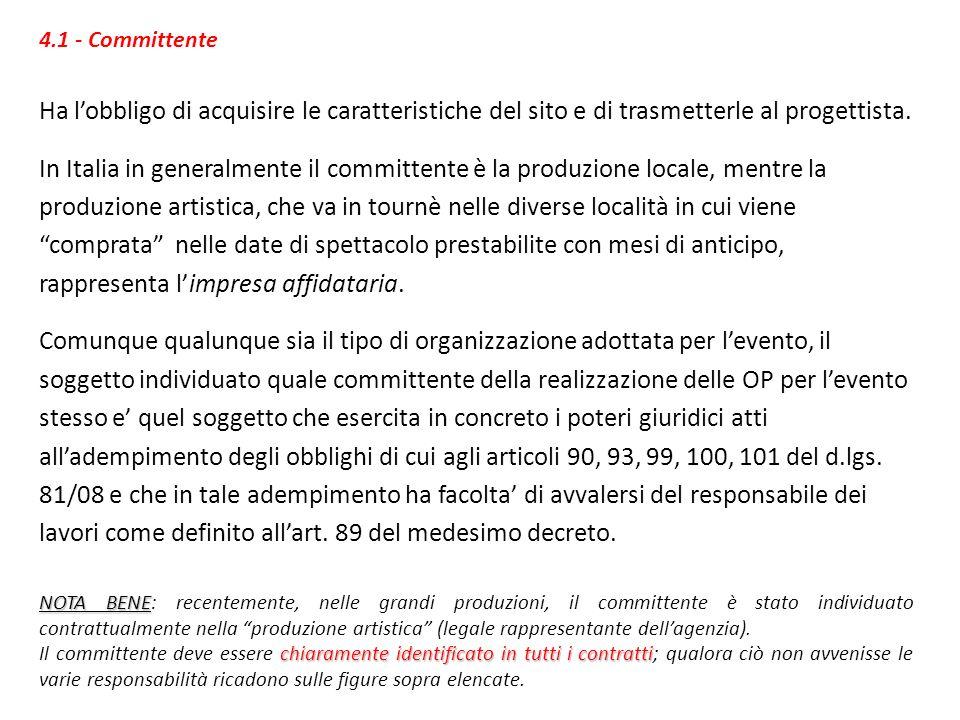 4.1 - Committente Ha lobbligo di acquisire le caratteristiche del sito e di trasmetterle al progettista. In Italia in generalmente il committente è la