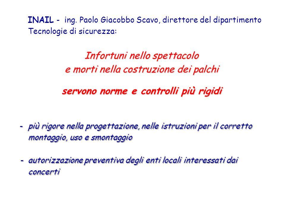 INAIL - ing. Paolo Giacobbo Scavo, direttore del dipartimento Tecnologie di sicurezza: Infortuni nello spettacolo e morti nella costruzione dei palchi