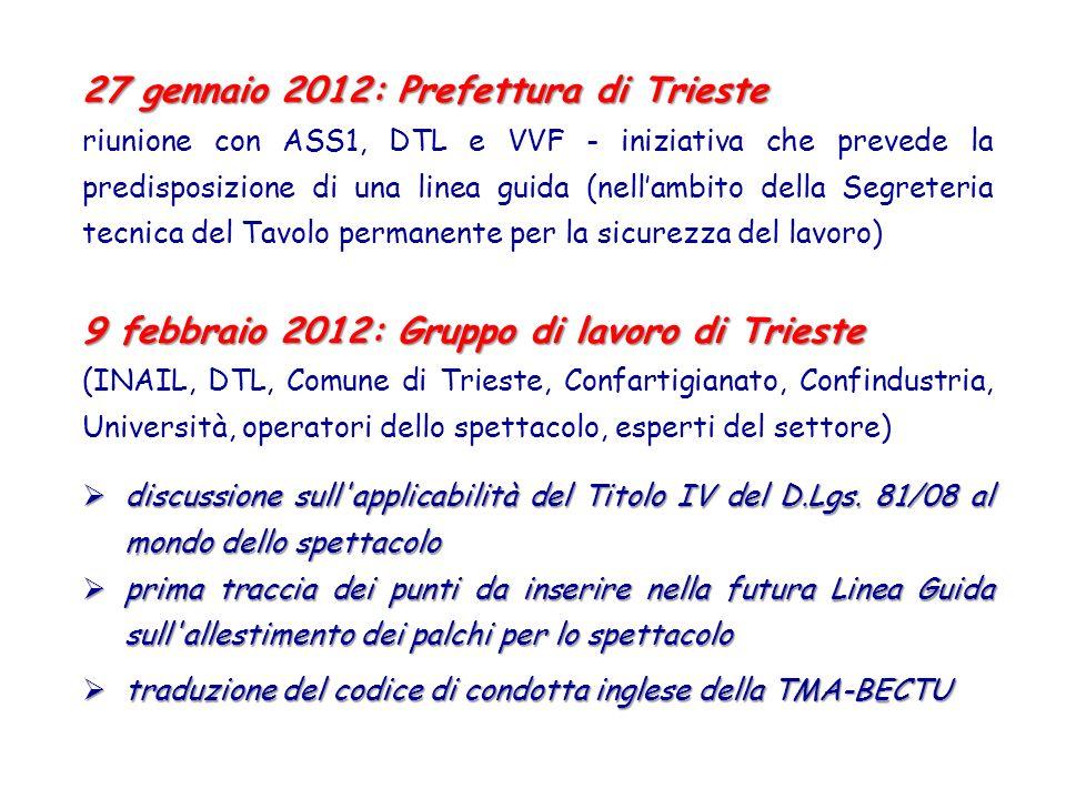 27 gennaio 2012: Prefettura di Trieste riunione con ASS1, DTL e VVF - iniziativa che prevede la predisposizione di una linea guida (nellambito della S