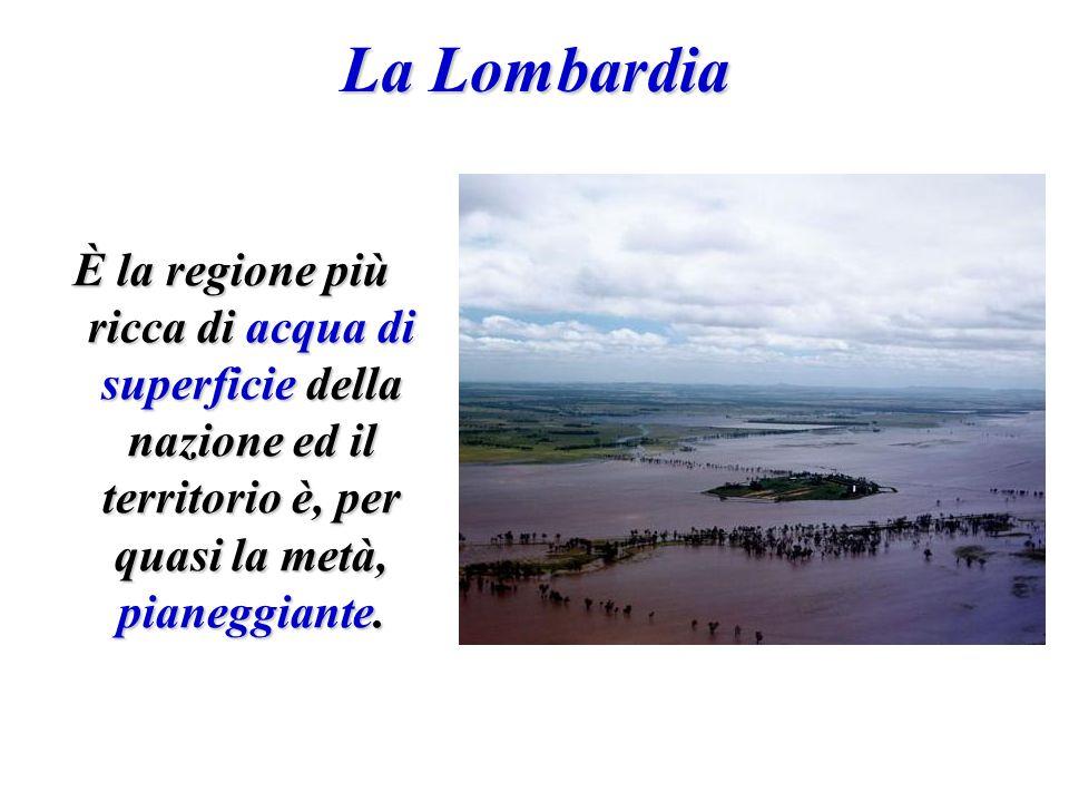 La Lombardia È la regione più ricca di acqua di superficie della nazione ed il territorio è, per quasi la metà, pianeggiante.