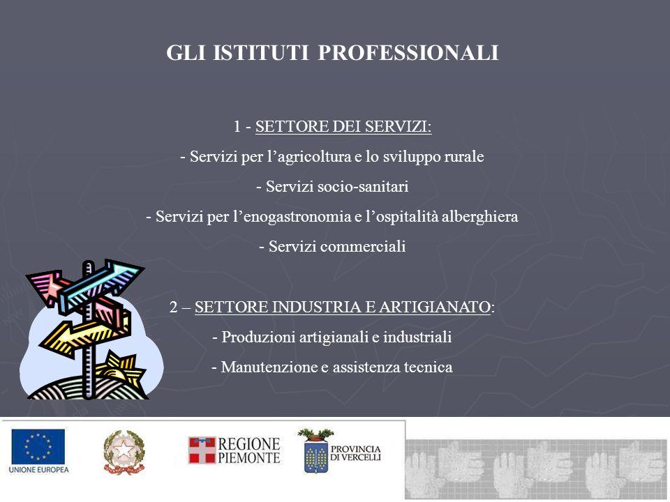 GLI ISTITUTI PROFESSIONALI 1 - SETTORE DEI SERVIZI: - Servizi per lagricoltura e lo sviluppo rurale - Servizi socio-sanitari - Servizi per lenogastron