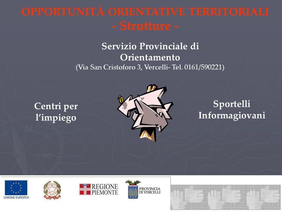 OPPORTUNITÀ ORIENTATIVE TERRITORIALI - Strutture - Servizio Provinciale di Orientamento (Via San Cristoforo 3, Vercelli- Tel. 0161/590221) Centri per