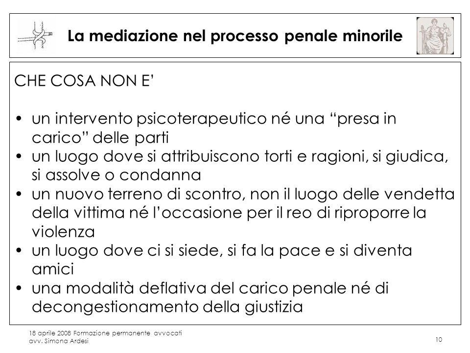 18 aprile 2008 Formazione permanente avvocati avv. Simona Ardesi 10 La mediazione nel processo penale minorile CHE COSA NON E un intervento psicoterap