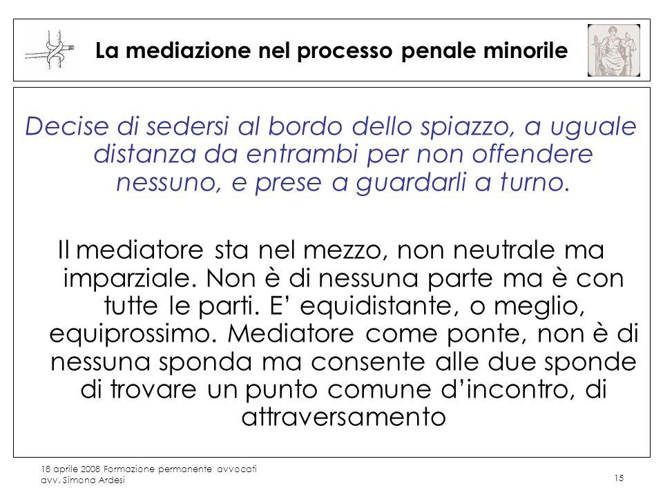 18 aprile 2008 Formazione permanente avvocati avv. Simona Ardesi 15 La mediazione nel processo penale minorile Decise di sedersi al bordo dello spiazz