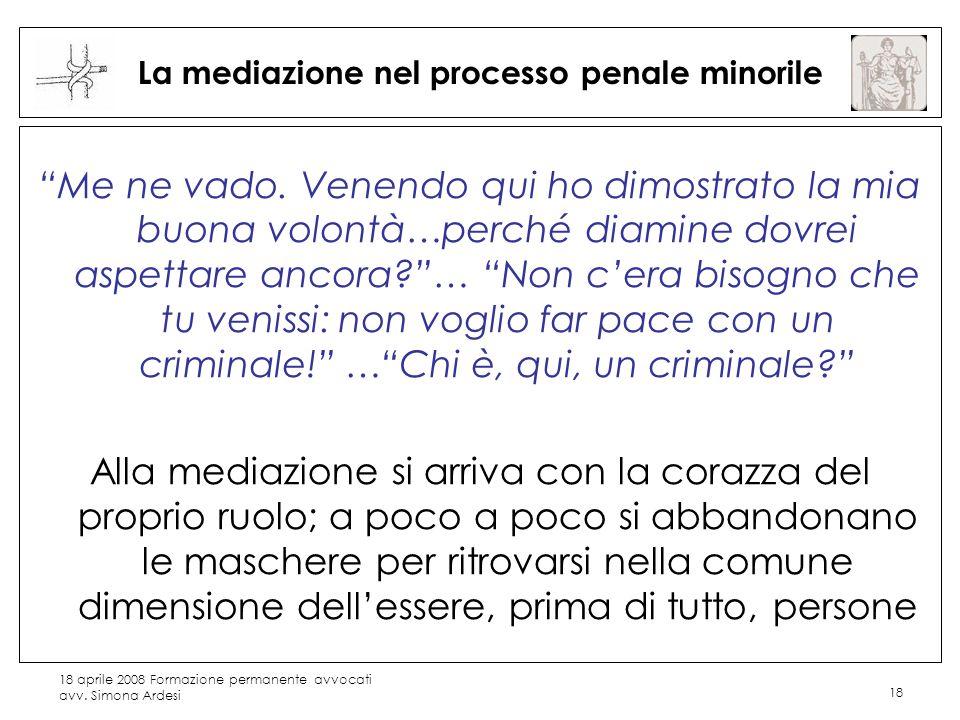18 aprile 2008 Formazione permanente avvocati avv. Simona Ardesi 18 La mediazione nel processo penale minorile Me ne vado. Venendo qui ho dimostrato l