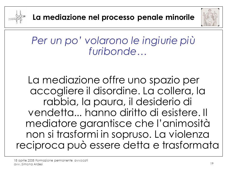 18 aprile 2008 Formazione permanente avvocati avv. Simona Ardesi 19 La mediazione nel processo penale minorile Per un po volarono le ingiurie più furi