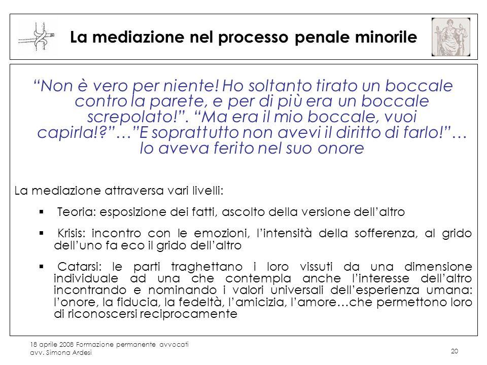 18 aprile 2008 Formazione permanente avvocati avv. Simona Ardesi 20 La mediazione nel processo penale minorile Non è vero per niente! Ho soltanto tira