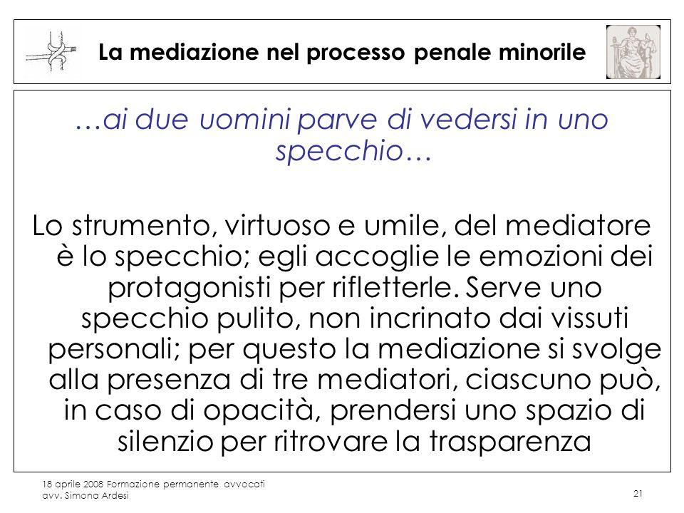 18 aprile 2008 Formazione permanente avvocati avv. Simona Ardesi 21 La mediazione nel processo penale minorile …ai due uomini parve di vedersi in uno
