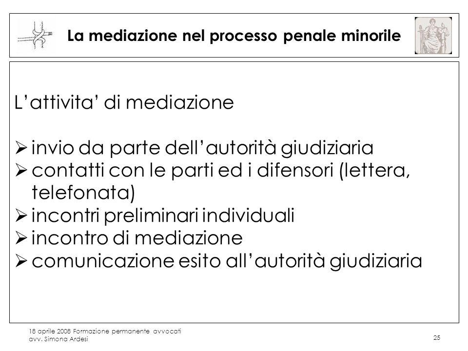 18 aprile 2008 Formazione permanente avvocati avv. Simona Ardesi 25 La mediazione nel processo penale minorile Lattivita di mediazione invio da parte