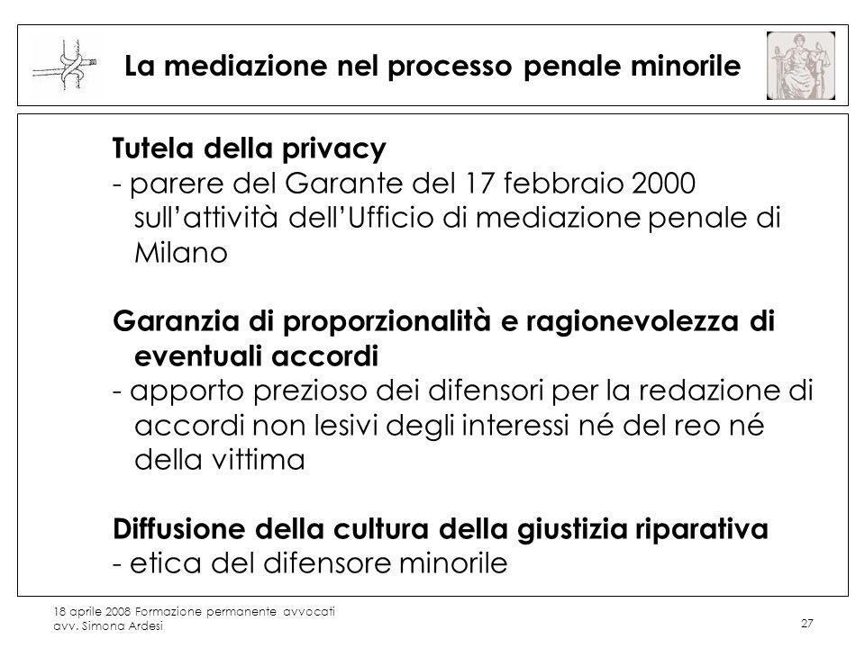 18 aprile 2008 Formazione permanente avvocati avv. Simona Ardesi 27 La mediazione nel processo penale minorile Tutela della privacy - parere del Garan