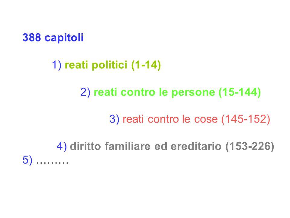 388 capitoli 1) reati politici (1-14) 2) reati contro le persone (15-144) 3) reati contro le cose (145-152) 4) diritto familiare ed ereditario (153-226) 5) ………