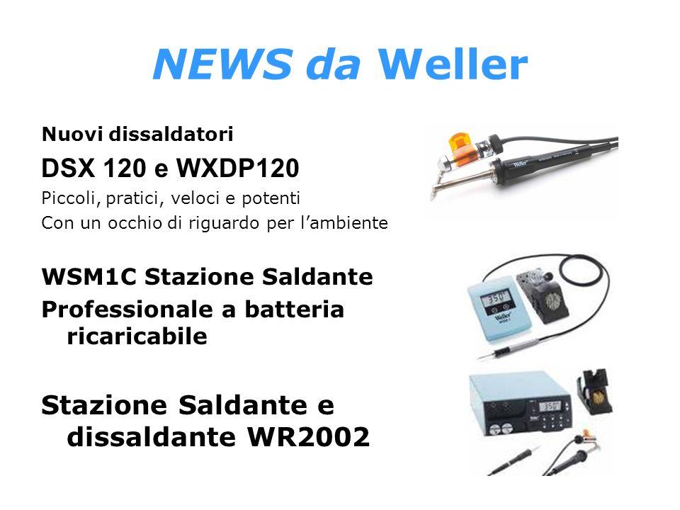NEWS da Weller Nuovi dissaldatori DSX 120 e WXDP120 Piccoli, pratici, veloci e potenti Con un occhio di riguardo per lambiente WSM1C Stazione Saldante