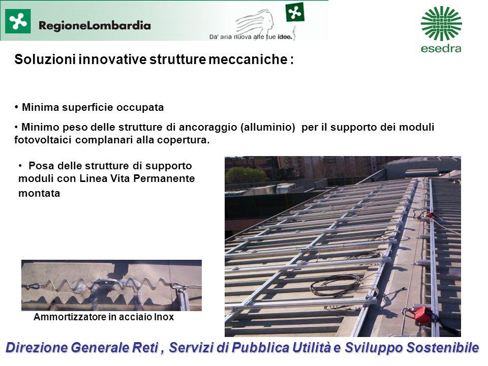 Soluzioni innovative strutture meccaniche : Minima superficie occupata Minimo peso delle strutture di ancoraggio (alluminio) per il supporto dei moduli fotovoltaici complanari alla copertura.