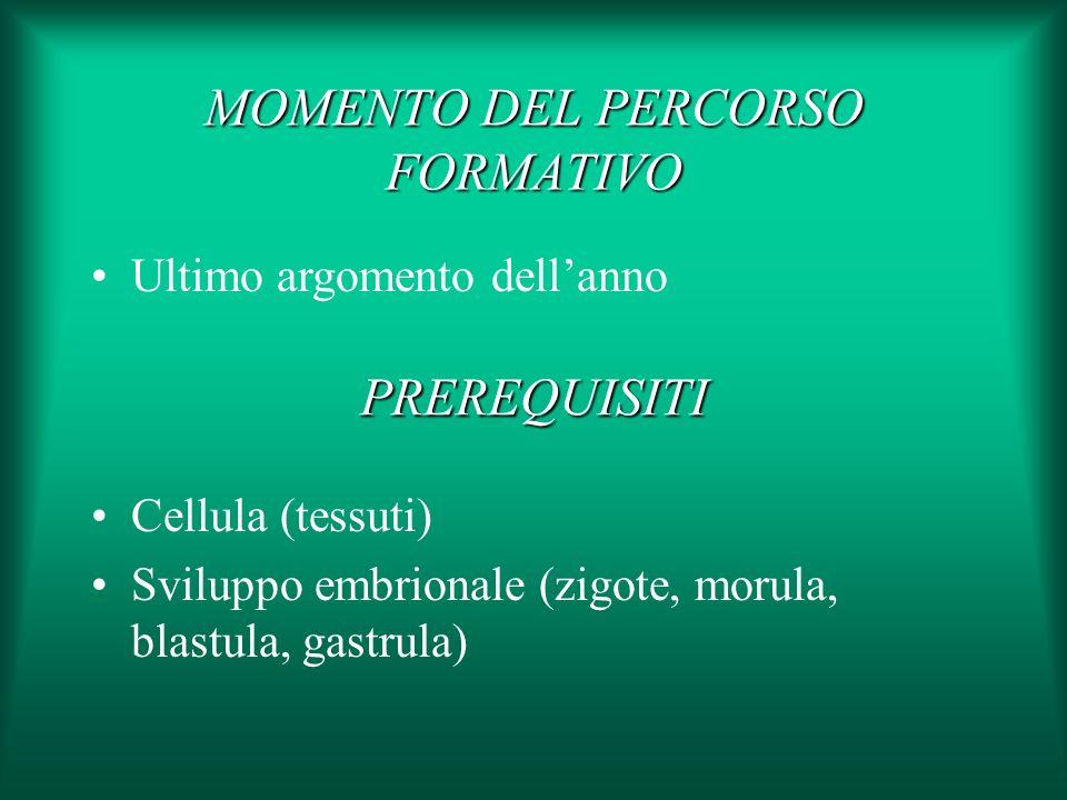 Cellula (tessuti) Sviluppo embrionale (zigote, morula, blastula, gastrula) PREREQUISITI MOMENTO DEL PERCORSO FORMATIVO Ultimo argomento dellanno