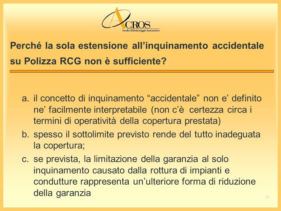 Perché la sola estensione allinquinamento accidentale su Polizza RCG non è sufficiente.
