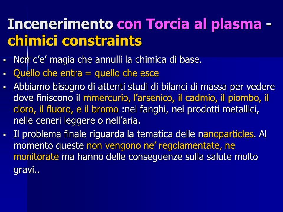 Incenerimento con Torcia al plasma - chimici constraints Non ce magia che annulli la chimica di base.
