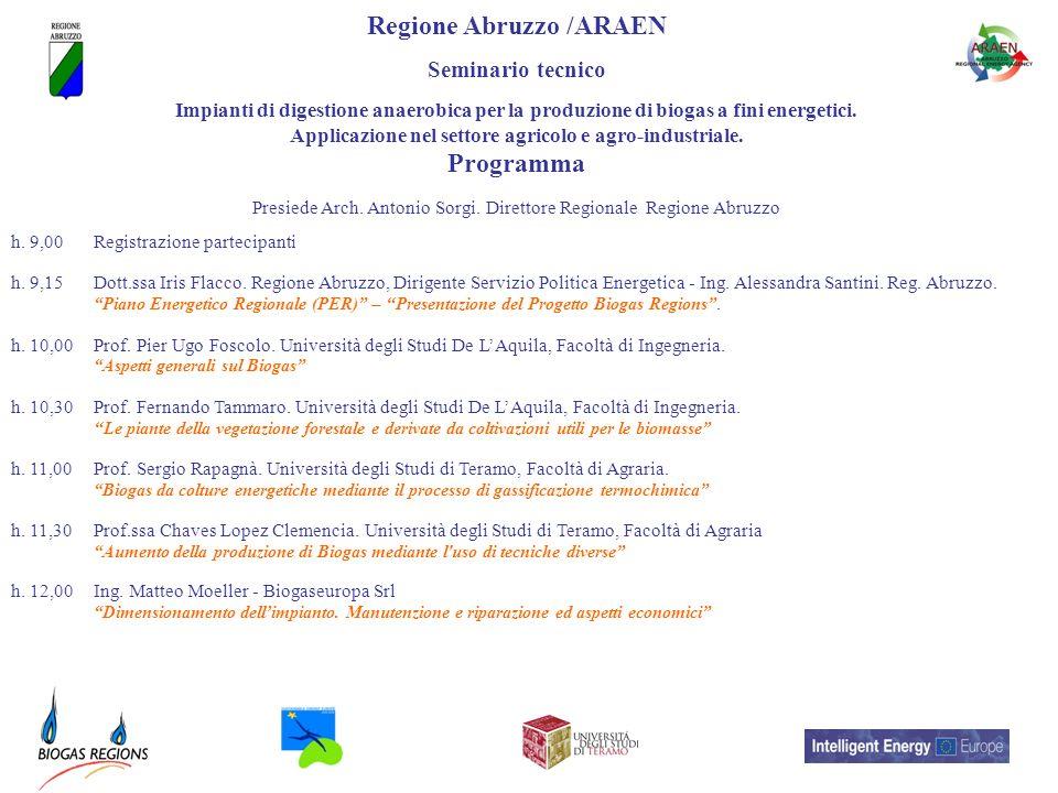 Regione Abruzzo /ARAEN Seminario tecnico Impianti di digestione anaerobica per la produzione di biogas a fini energetici. Applicazione nel settore agr