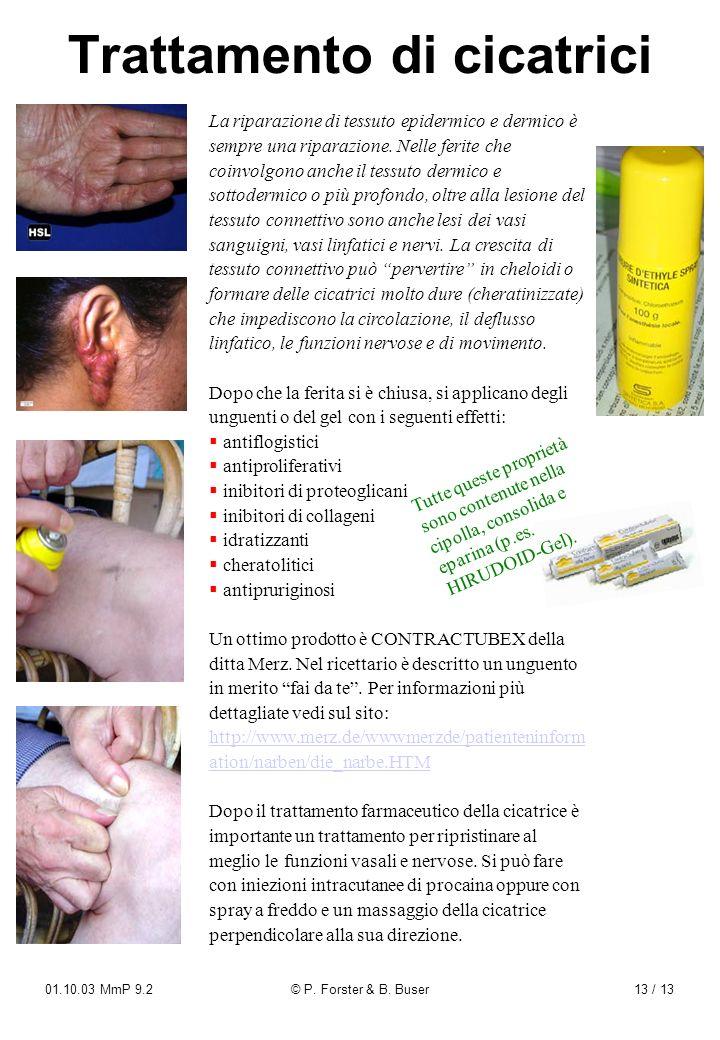 01.10.03 MmP 9.2© P. Forster & B. Buser13 / 13 Trattamento di cicatrici La riparazione di tessuto epidermico e dermico è sempre una riparazione. Nelle