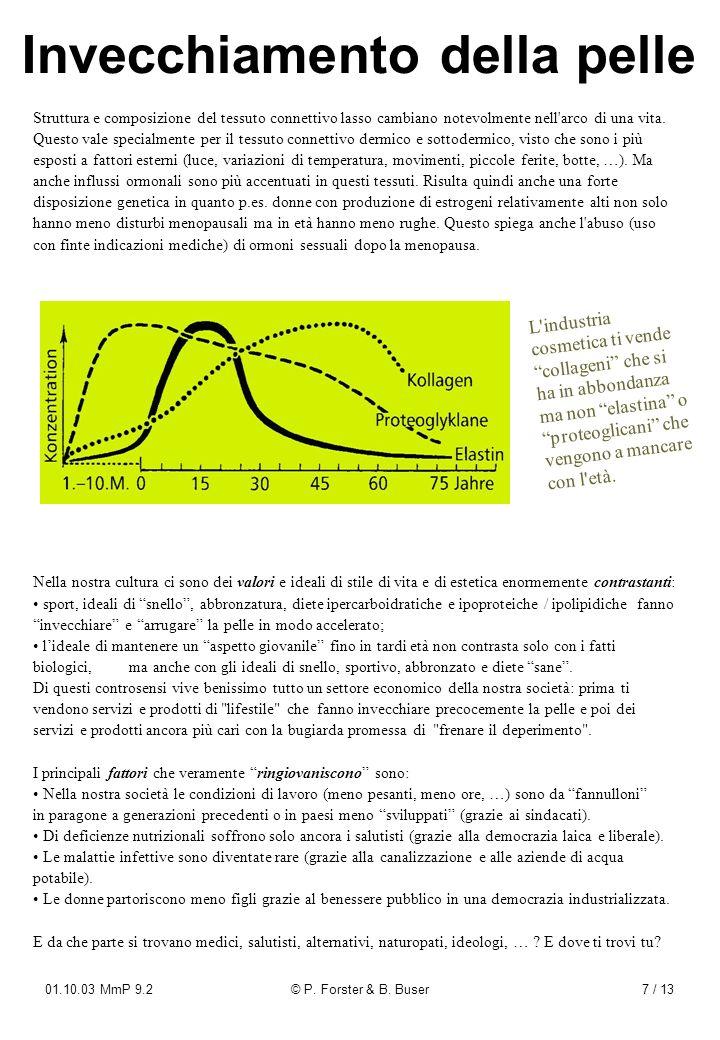 01.10.03 MmP 9.2© P. Forster & B. Buser7 / 13 Invecchiamento della pelle Struttura e composizione del tessuto connettivo lasso cambiano notevolmente n