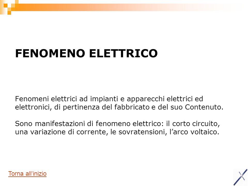 FENOMENO ELETTRICO Fenomeni elettrici ad impianti e apparecchi elettrici ed elettronici, di pertinenza del fabbricato e del suo Contenuto. Sono manife